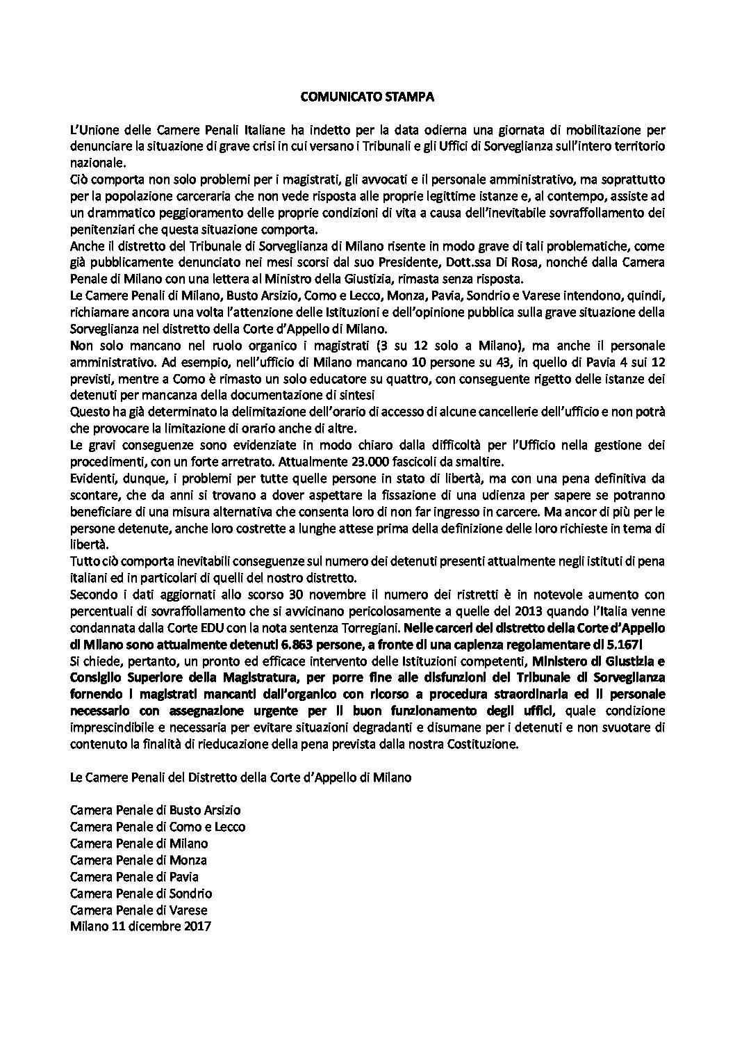 Comunicato stampa Camere Penali Distretto Corte d'Appello di Milano