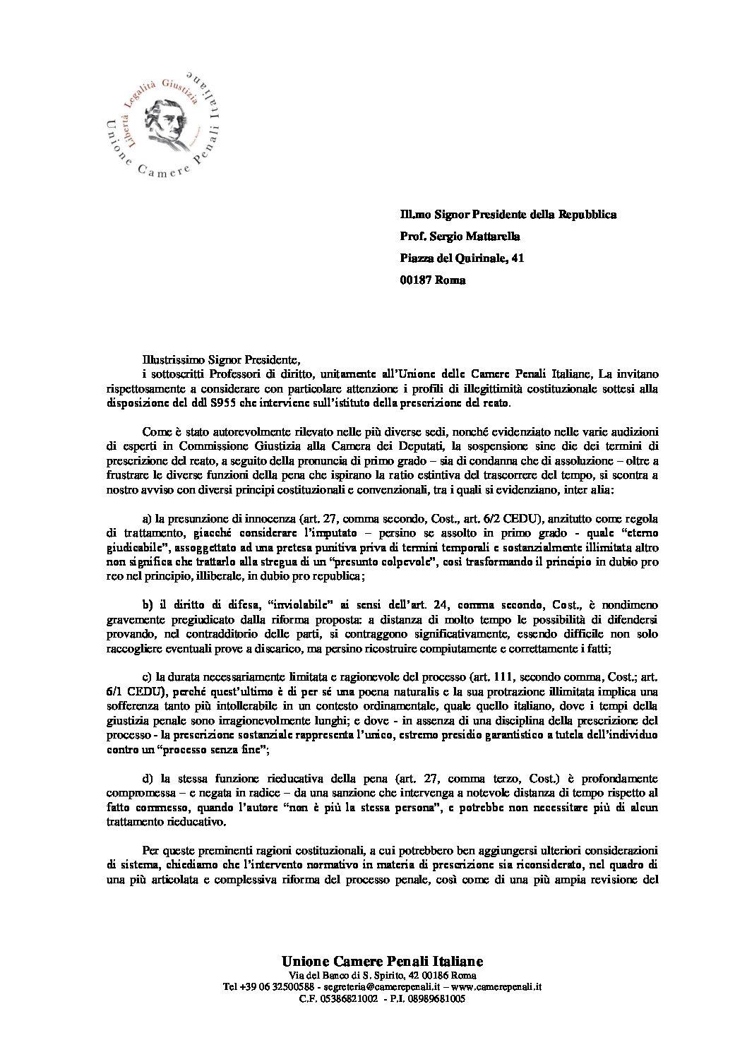 Appello al Presidente della Repubblica – DDL S955