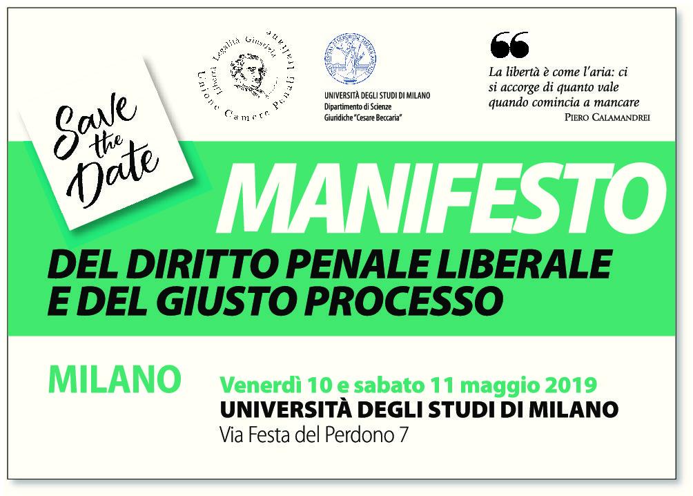 Manifesto del Diritto Penale Liberale e del Giusto Processo 10-11 maggio 2019