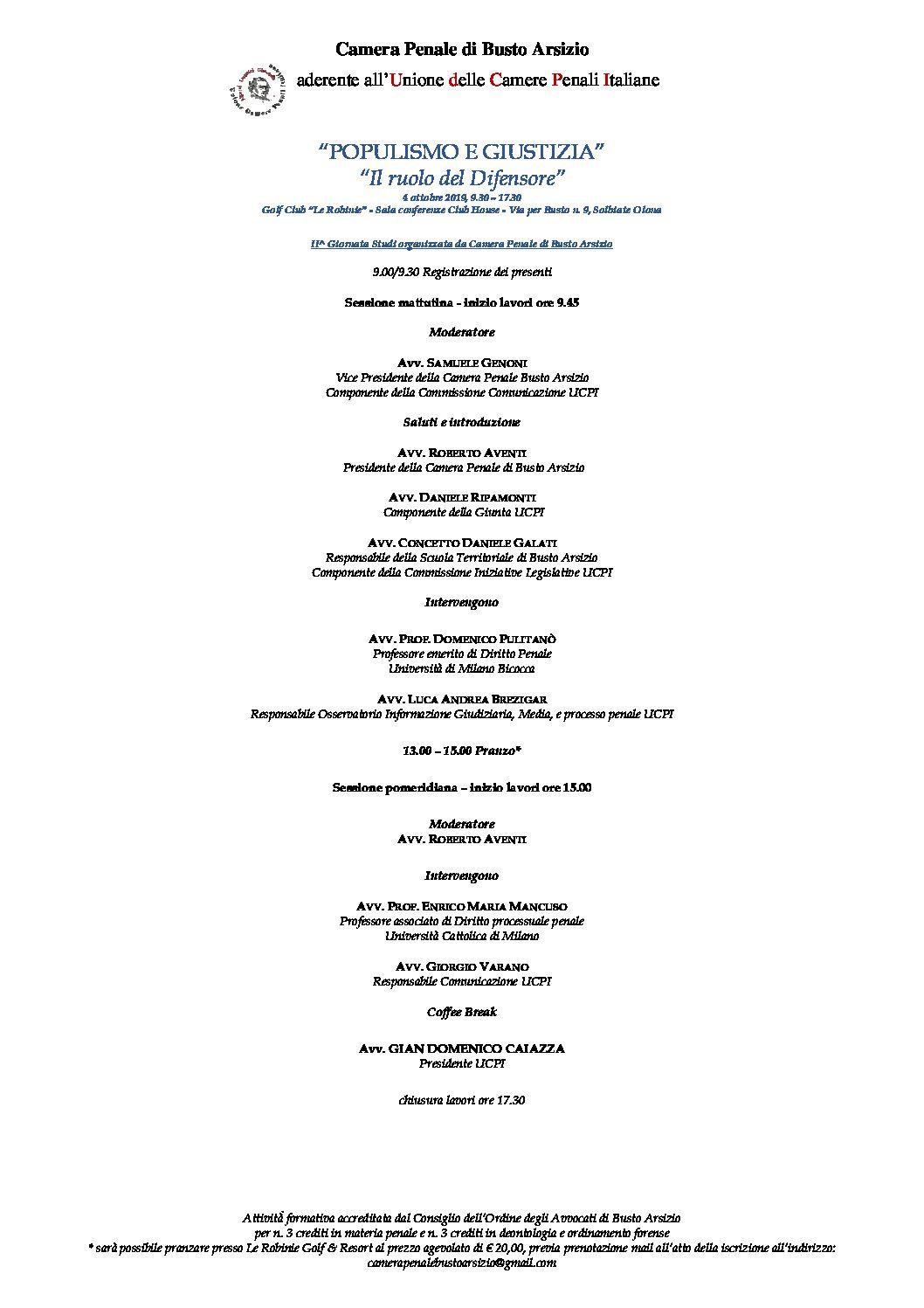 """Convegno """"Populismo e Giustizia. Il ruolo del Difensore"""" II Giornata Studi organizzata dalla Camera Penale di Busto Arsizio – 4 ottobre 2019"""